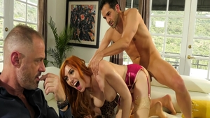 Redhead Lauren Phillips threesome