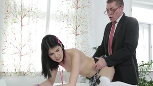 Petite and young teacher Lady Dee raw pounding