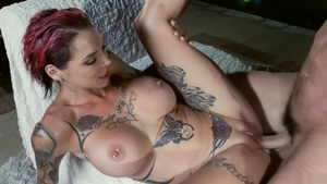 Big tits and tattooed babe Anna Bell Peaks fetish sucking cock