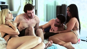 Real sex in company with blonde