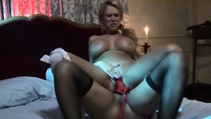 Blonde Eva Angelina strapon in the bed