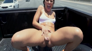 Hairy and wild pornstar Adriana Chechik cowgirl fuck outdoors