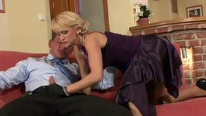 European Cynthia Vellons in high heels cumshot on the couch