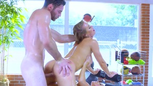 Juicy Abigail Mac gets plowed & Nicole Aniston in the gym