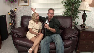 Blonde Payton Leigh got her pussy pounded during interview
