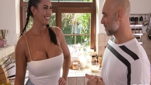Horny and big tits Chloe Amour blowjob in the kitchen