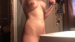 Puffy nipples amateur agrees to voyeur hard ramming in shower