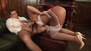 Double penetration along with tight bride in nylon