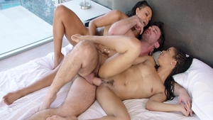 Kira Noir escorted by Harley Dean threesome in the bed