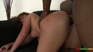 Licking big black cock and hair pulling