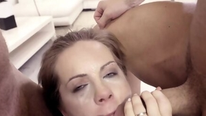 Cumshot escorted by nice blonde in lingerie
