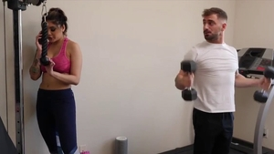 Tattooed & perfect body Brenna Sparks cumshot at the gym