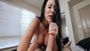 Big tits brunette Reagan Foxx has a thing for blowjobs