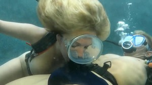 Big tits blonde cumshot underwater HD