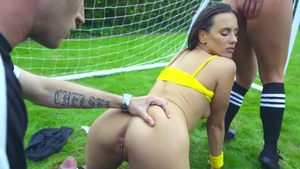 Pornstar Mea Melone hardcore threesome outdoors