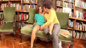Stepmom Sylvia Laurent rough pussy eating in the library
