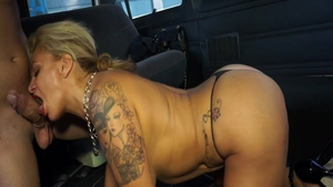 Pussy fuck on the backseat starring big boobs MILF