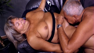 Rough threesome together with mature