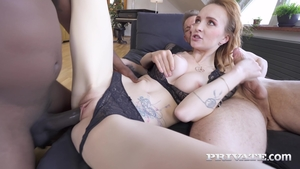 Tattooed extreme anal interracial threesome in HD