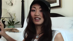 Evelyn Lin in tight stockings sucking cock in HD