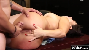 Hard pounding in company with large tits brunette