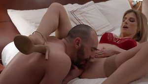 Blonde Cory Chase romantic handjob in the bed