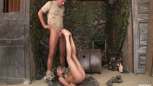 Nasty babe wearing uniform being pounded by Thomas Stone