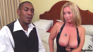 Large boobs mature interracial bang during interview in HD