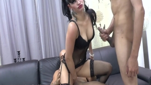Erotic french supermodel interracial fuck on the couch