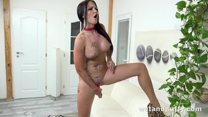 Solo big tits and tattooed Isabel Dark playing with toys