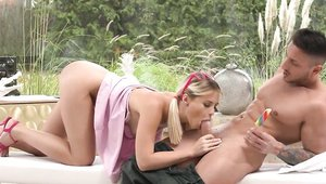 Small tits blonde babe Lika Star has a thing for blowjobs
