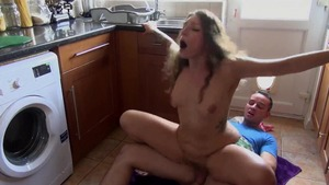 Hairy tattooed stepsister banging pussy fuck in the kitchen