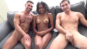 Beautiful ebony bisexual goes in for hardcore threesome