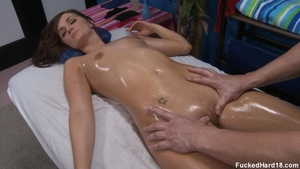 Skinny Lily Carter raw blowjob on the table