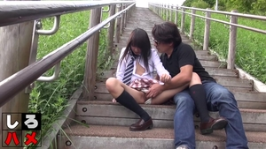 Outdoors hairy japanese in stockings HD