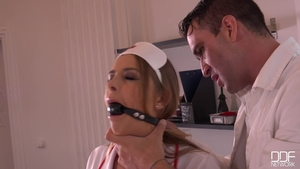Raw bondage alongside nurse Candy Alexa