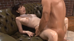 Fucking accompanied by large tits asian brunette