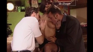 Sweet brunette rushes group sex in HD