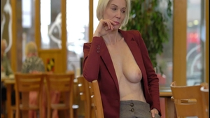German blonde haired tease natural big tits