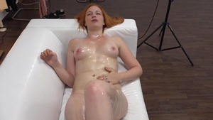 Horny big tits redhead rough stroking