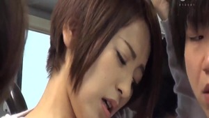 Sex in company with beautiful japanese
