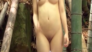 Sexy dancing in the forest asian